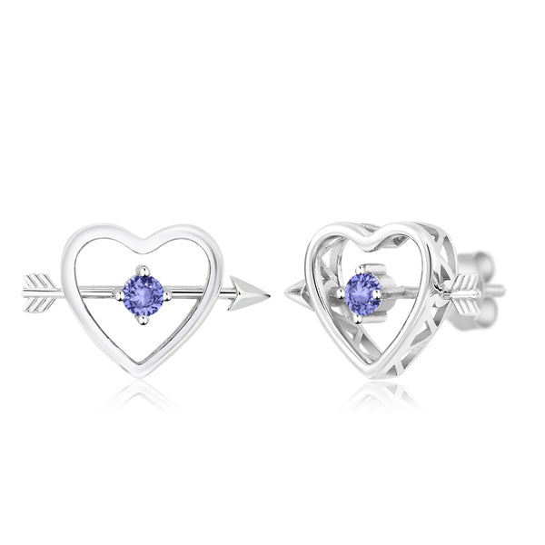 9b6bacdc8 0.24 Ct Round 3mm Blue Tanzanite 925 Sterling Silver Heart and Arrow  Earrings