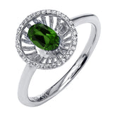 Gem Stone King 0.93 Ct Oval Green Chrome Diopside 925 Sterling Silver Ring