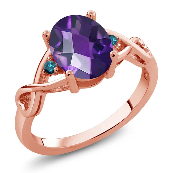 Gem Stone King 1.56 Ct Oval Checkerboard Purple Amethyst Blue Diamond 18K Rose Gold Plated Silver Ring