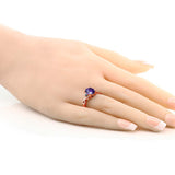 1.56 Ct Oval Checkerboard Purple Amethyst Blue Diamond 18K Rose Gold Plated Silver Ring