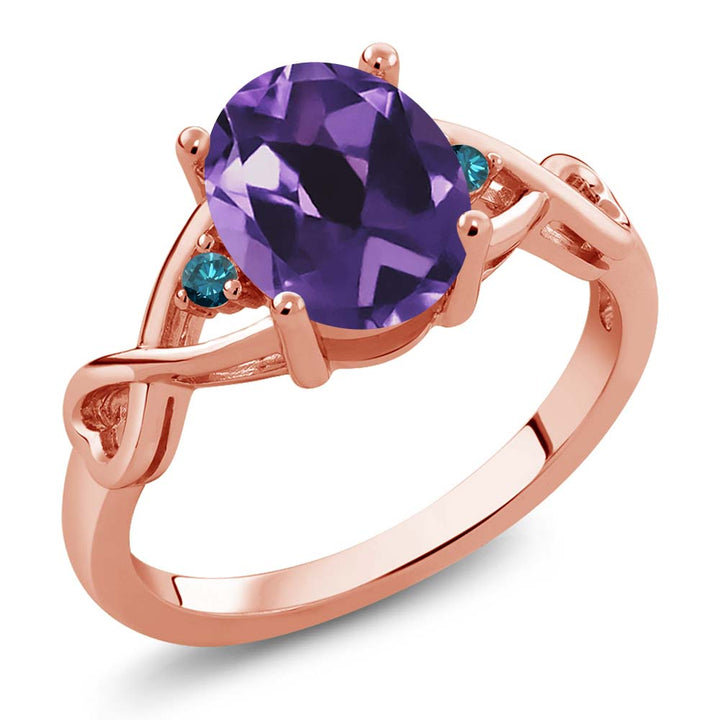 Gem Stone King 1.72 Ct Oval Purple Amethyst Blue Diamond 18K Rose Gold Plated Silver Ring