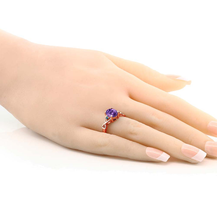 1.72 Ct Oval Purple Amethyst Blue Diamond 18K Rose Gold Plated Silver Ring