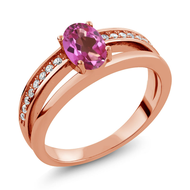 0.96 Ct Oval Pink Mystic Topaz 18K Rose Gold Plated Silver Ring