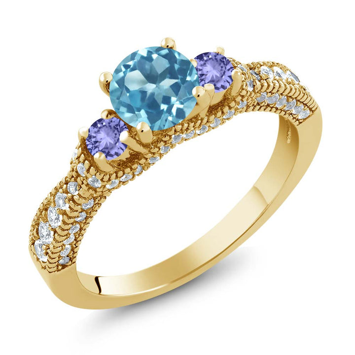 Gem Stone King 1.78 Ct Round Swiss Blue Topaz Blue Tanzanite 18K Yellow Gold Plated Silver Ring