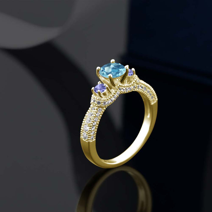 1.78 Ct Round Swiss Blue Topaz Blue Tanzanite 18K Yellow Gold Plated Silver Ring