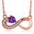 0.34 Ct Heart Shape Purple Amethyst 18K Rose Gold Plated Silver Infinity Necklace