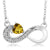 0.34 Ct Heart Shape Yellow Citrine 925 Sterling Silver Infinity Necklace
