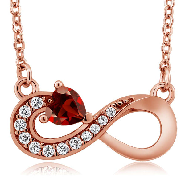0.45 Ct Heart Shape Red Garnet 18K Rose Gold Plated Silver Infinity Necklace