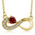 0.45 Ct Heart Shape Red Garnet 18K Yellow Gold Plated Silver Infinity Necklace