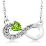 Gem Stone King 0.40 Ct Heart Shape Green Peridot 925 Sterling Silver Infinity Necklace