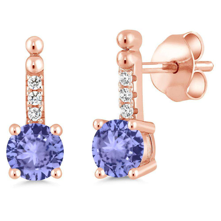 Gem Stone King 0.98 Ct Blue Tanzanite 18K Rose Gold Plated Silver Dangling Earrings