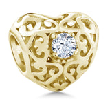 Gem Stone King 0.26 Ct White Created Sapphire 18K Yellow Gold Plated Silver Bracelet Bead Charm