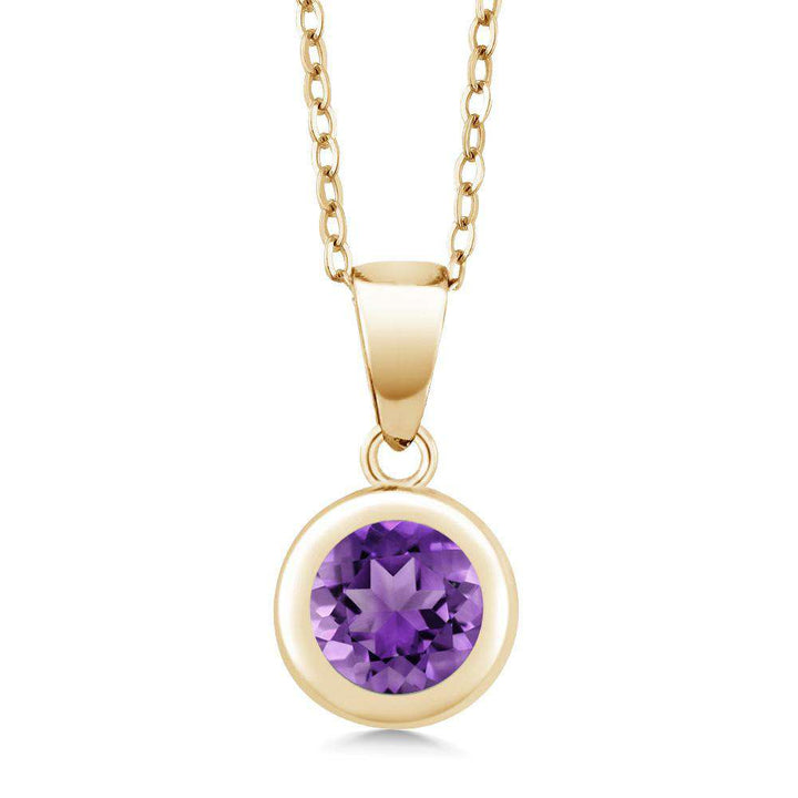 Gem Stone King 1.10 Ct Round Purple Amethyst 18K Yellow Gold Plated Silver Pendant With Chain
