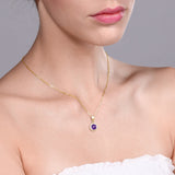 1.10 Ct Round Purple Amethyst 18K Yellow Gold Plated Silver Pendant With Chain