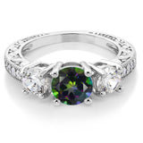 3.16 Ct Round Green Mystic Topaz Rhodium Plated Ring