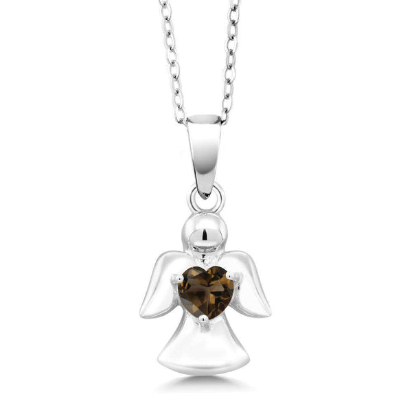 0.44 Ct Heart Brown Smoky Quartz 925 Sterling Silver Angel Pendant With Chain