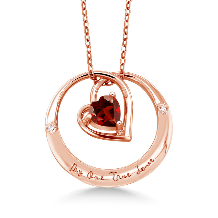 "Gem Stone King 925 Rose Gold Plated Silver ""My One True Love"" Garnet Diamond Accent Pendant"