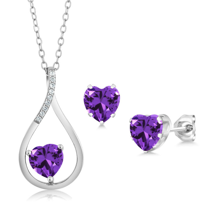 Gem Stone King 0.11 Ct Heart Shape Purple Zirconia 925 Sterling Silver Pendant Earrings Set