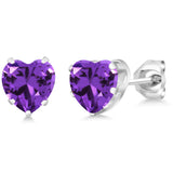 0.11 Ct Heart Shape Purple Zirconia 925 Sterling Silver Pendant Earrings Set