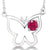 "0.30 Ct Round Red Ruby 925 Sterling Silver Butterfly 18"" Necklace"