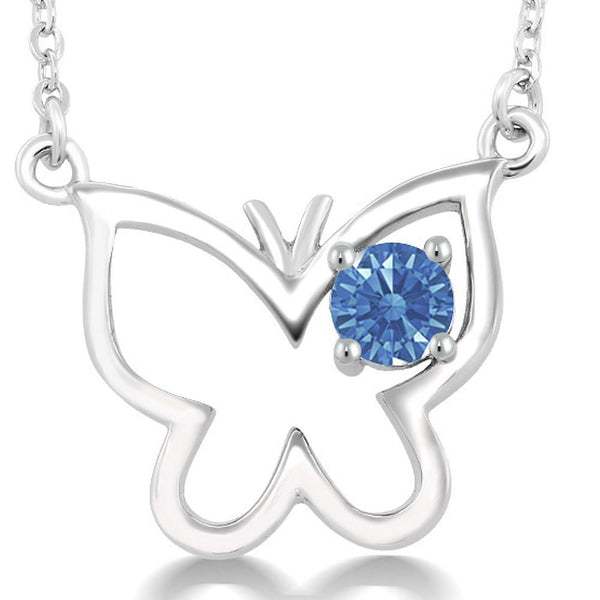 925 Sterling Silver Butterfly Necklace Made With Fancy Blue Swarovski Zirconia