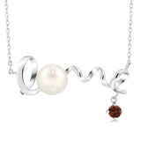 Gem Stone King 0.40 Ct Round Red Garnet 925 Sterling Silver Cultured Freshwater Pearl Love Pendant With Chain