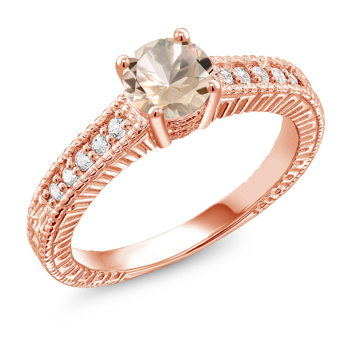 0.75 Ct Round Peach Morganite 18K Rose Gold Plated Silver Ring (Available 5,6,7,8,9)