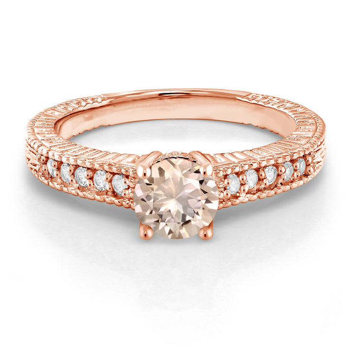 0.75 Ct Round Peach Morganite 18K Rose Gold Plated Silver Ring