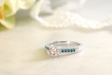 0.77 Ct Round Peach Morganite Blue Diamond 925 Sterling Silver Ring