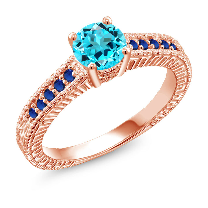 Gem Stone King 1.10Ct Swiss Blue Topaz Blue Simulated Sapphire 18K Rose Gold Plated Silver Ring (Available 5,6,7,8,9)