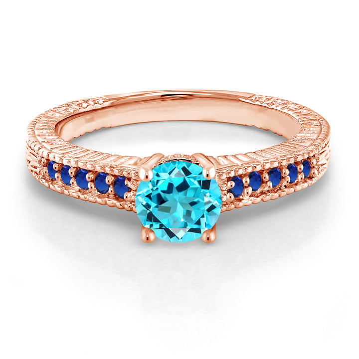 1.10Ct Swiss Blue Topaz Blue Simulated Sapphire 18K Rose Gold Plated Silver Ring