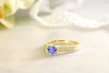 1.05 Ct Round Blue Tanzanite 18K Yellow Gold Plated Silver Ring