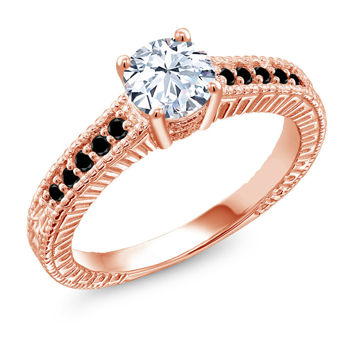 Gem Stone King 1.37 Ct White Created Sapphire Black Diamond 18K Rose Gold Plated Silver Ring (Available 5,6,7,8,9)