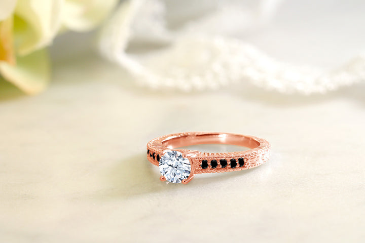 1.37 Ct White Created Sapphire Black Diamond 18K Rose Gold Plated Silver Ring