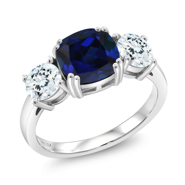 3.50 Ct Blue Simulated Sapphire Sky Blue Aquamarine 925 Sterling Silver Ring