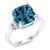 4.64 Ct Cushion London Blue Topaz 925 Sterling Silver Ring