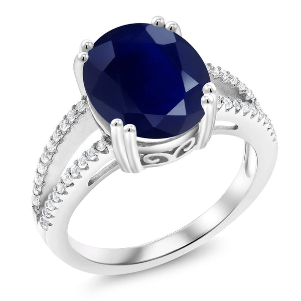 5.48 Ct Oval Blue Sapphire 925 Sterling Silver Ring