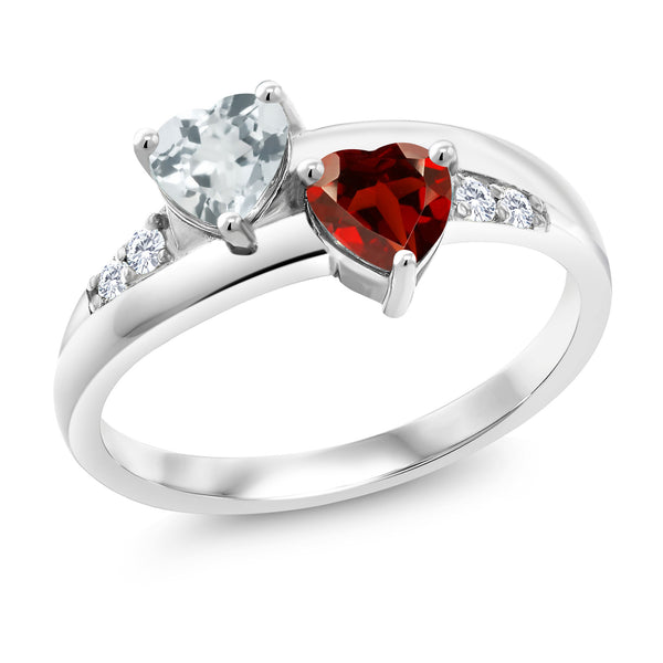 1.01 Ct Heart Shape Aquamarine Garnet 925 Sterling Silver Lab Grown Diamond Ring