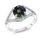 Gem Stone King 2.50 Ct Round Green Mystic Topaz 925 Sterling Silver Ring