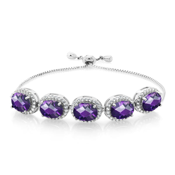 8.55 Ct Oval Checkerboard Purple Amethyst 925 Silver Adjustable Bracelet