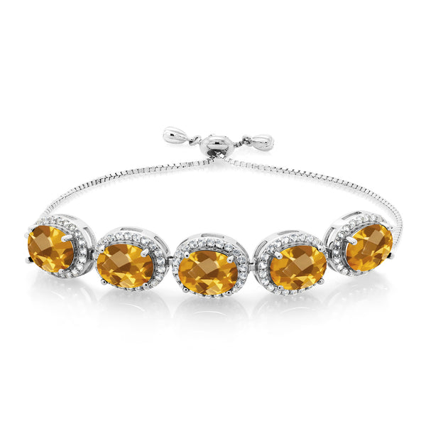 9.30 Ct Oval Checkerboard Yellow Citrine 925 Silver Adjustable Bracelet