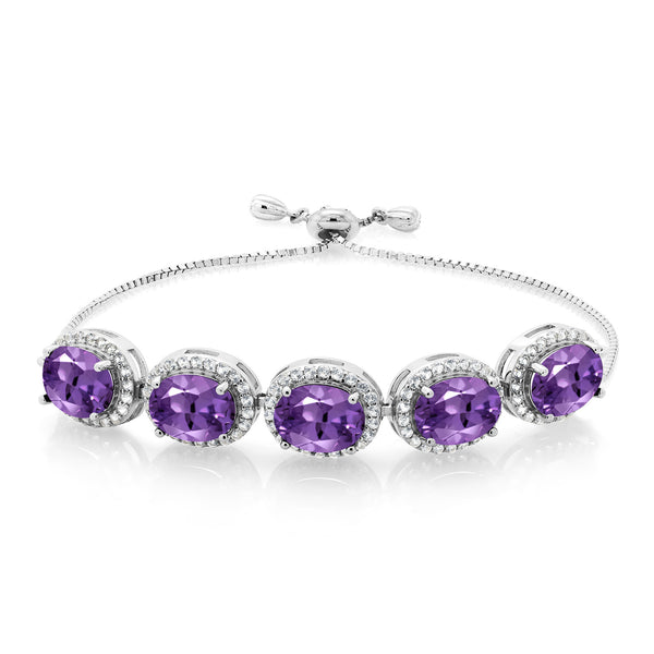 9.05 Ct Oval Purple Amethyst 925 Silver Adjustable Bracelet
