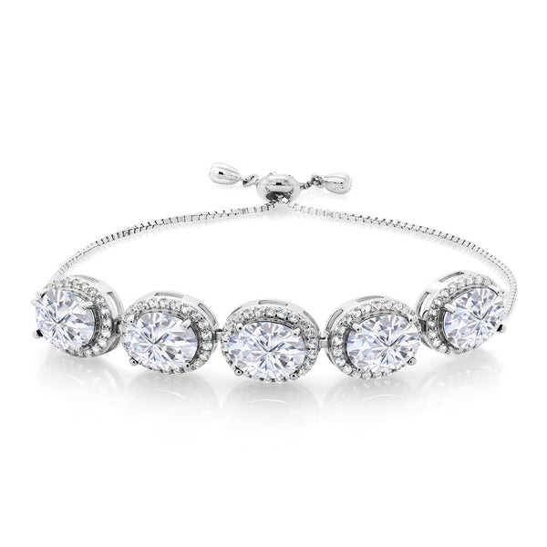 925 Silver Adjustable Bracelet Forever Brilliant Created Moissanite 10.50ct DEW