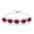 6.05 Ct Oval Red Created Ruby 925 Silver Adjustable Bracelet