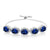 12.55 Ct Oval Blue Simulated Sapphire 925 Silver Adjustable Bracelet