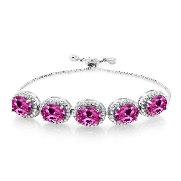 6.05 Ct Oval Pink Created Sapphire 925 Silver Adjustable Bracelet