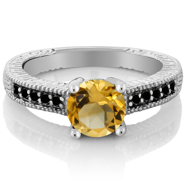 1.47 Ct Round Yellow Citrine Black Diamond 925 Sterling Silver Engagement Ring