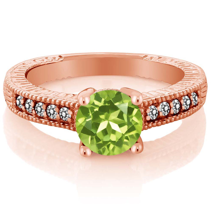 Gem Stone King 1.52 Ct Round Green Peridot White Diamond 18K Rose Gold Plated Silver Ring