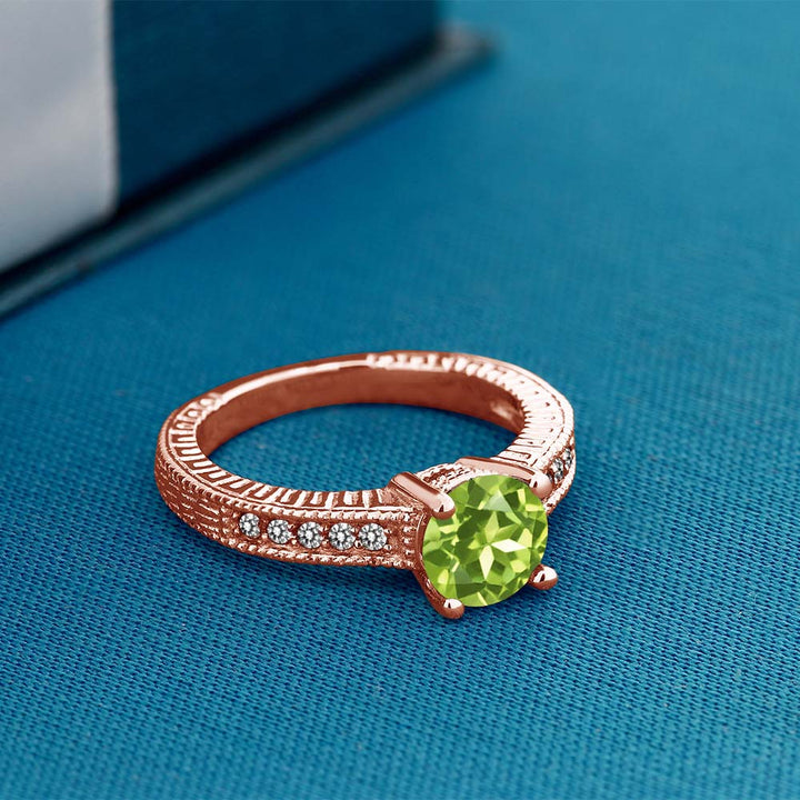 1.52 Ct Round Green Peridot White Diamond 18K Rose Gold Plated Silver Ring
