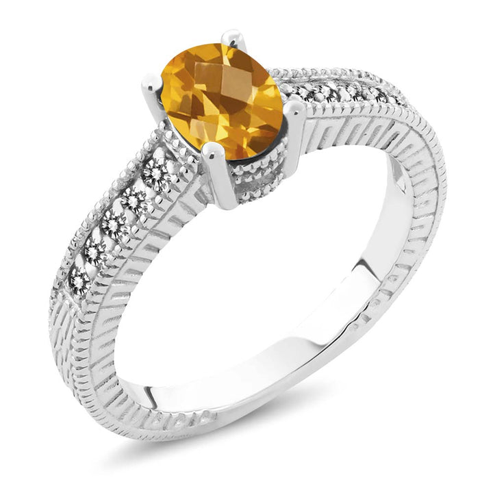 Gem Stone King 1.03 Ct Oval Checkerboard Yellow Citrine White Diamond 925 Sterling Silver Ring
